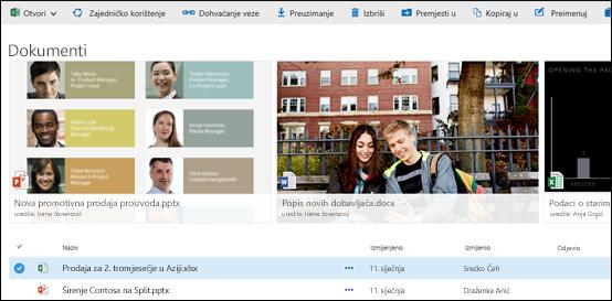 Izbornik dokumenata i mapa sustava Office 365