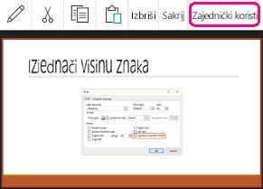 Naredba za zajedničko korištenje u programu PowerPoint za Android