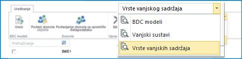 Snimka zaslona s odabirom prikaza podatkovnih kataloga servisa za poslovno povezivanje.