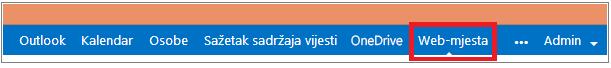 Traka s izbornicima na kojoj je istaknuta veza Web-mjesta