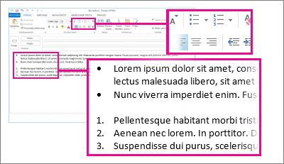 Primjeri popisa s grafičkim ili brojčanim oznakama u poruci