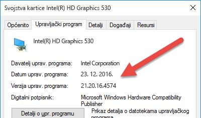 Informacije o verziji i datumu za upravljački program uređaja prikazuju se pri vrhu kartice Upravljački program.