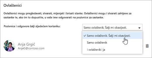 """Snimka zaslona dijaloškog okvira """"Zajedničko korištenje ovoga kalendara""""."""