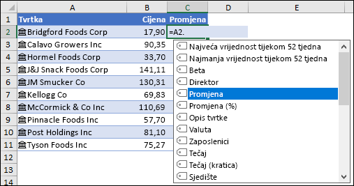 Povezana vrsta podataka za vrijednost Dionice