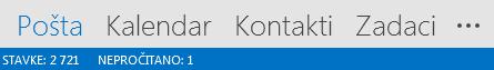 Kartica Osobe nalazi se pri dnu zaslona programa Outlook.