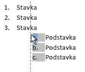 kliknite stavku popisa da biste označili popis i povukli ga na drugo mjesto