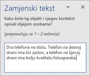 Zamjenski tekst okno s primjerom zamjenski tekst u programu Word za Windows.