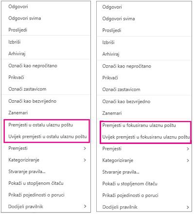 Mogućnosti Premjesti na karticu U fokusu i Premjesti na karticu Ostalo u programu Outlook na webu