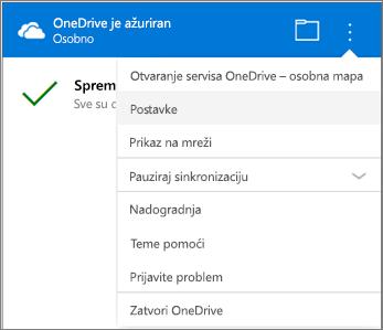 Dodatne postavke u centru za aktivnosti sinkronizacije servisa OneDrive