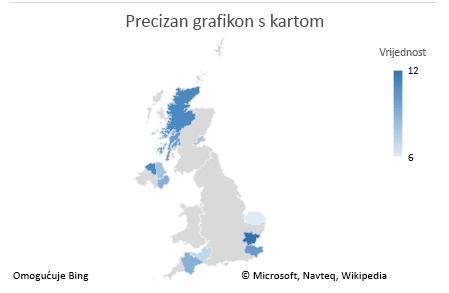 Grafikon s jasnim podacima grafikona s kartom programa Excel