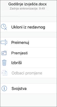 Mobilni zaslon s prikazom naredbe Premjesti