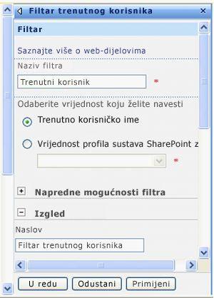 Okno alata za web-dio Filtar trenutnog korisnika.