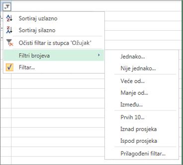 mogućnosti prilagođenog filtriranja dostupne za brojčane vrijednosti.