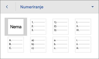 Naredba Numeriranje na kojoj se prikazuju mogućnosti oblikovanja