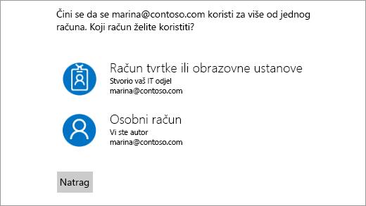 Zaslon s dvije adrese e-pošte za prijavu