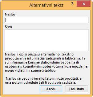Zamjenski tekst dijaloški okvir u programu Excel