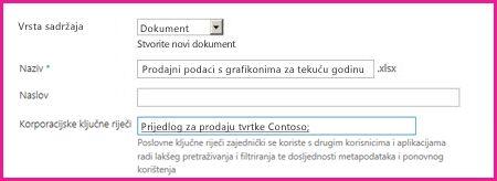 Korisnici mogu dodavati ključne riječi u dijaloški okvir svojstava dokumenta