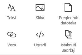 Snimka zaslona koja prikazuje izbornik Web-dio u sustavu SharePoint.