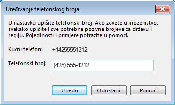 Primjer telefonskog broja programa Lync u međunarodnom obliku
