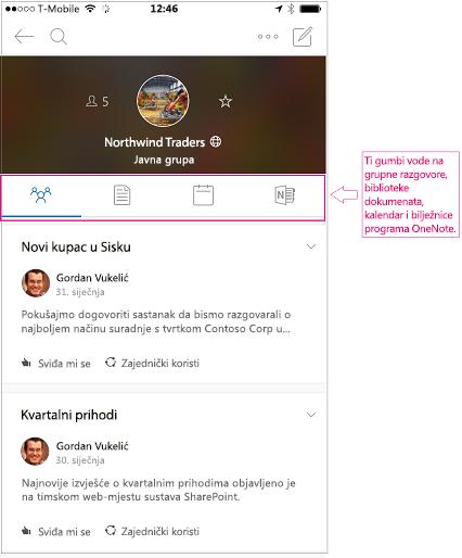 Prikaz razgovora grupe u mobilnoj aplikaciji grupe programa Outlook