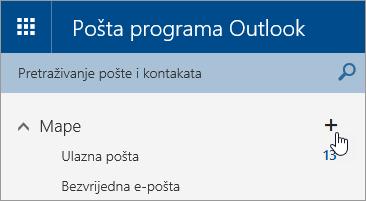 Snimka zaslona na kojoj se prikazuje gumb Stvori novu mapu na servisu Outlook.com.