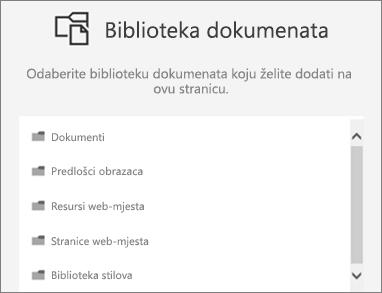 Odaberite biblioteku dokumenata da biste stavili na stranicu