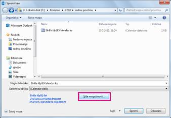 dijaloški okvir Spremi kao za kalendar programa Outlook