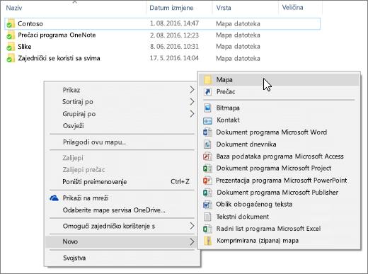 Snimka koji se prikazuje na izborniku klikom desne tipke miša u Eksploreru za datoteke.