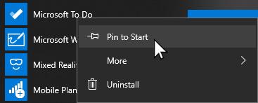 Kontekstni izbornik za Microsoft da biste otvorili i prikvačili na početni zaslon