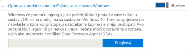Pronađite certifikat agenta za oporavak podataka.
