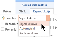 Na kartici Reprodukcija audiozapisa u programu PowerPoint 2016 postoje tri mogućnosti pokretanja