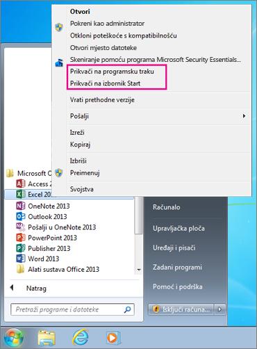 Prikvačite aplikaciju sustava Office na izbornik Start ili programsku traku u sustavu Windows 7