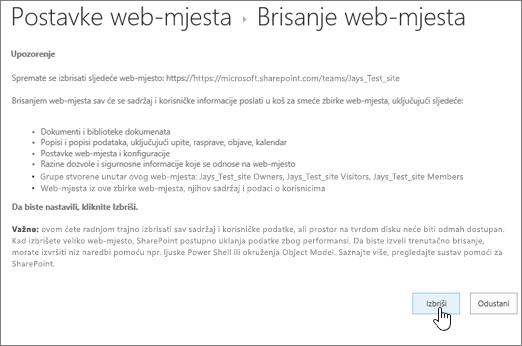 Brisanje web-mjesta upozorenja i potvrdu zaslona