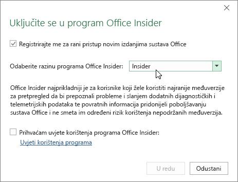 Dijaloški okvir Uključite se u program Office uz mogućnost razine Insider