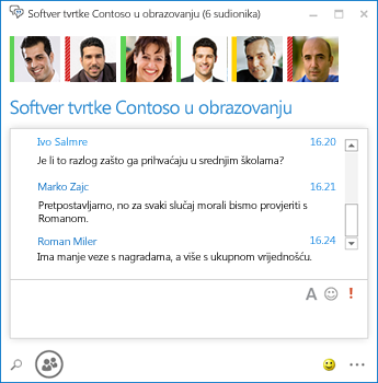 Snimka zaslona trajnog razgovora sa šest sudionika