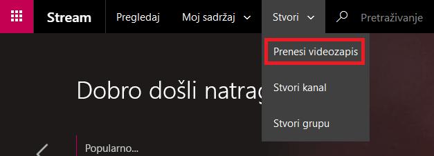 Prijenos videozapisa na Microsoft Stream