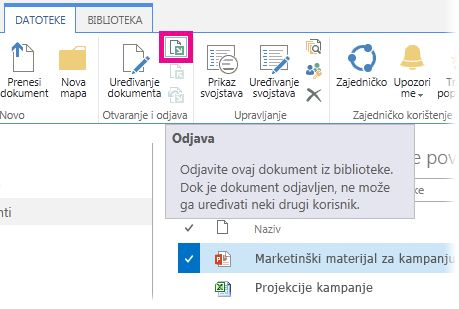 Odjava datoteke