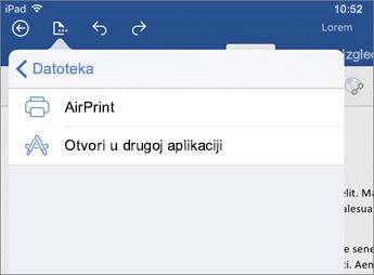 U dijaloški okvir za ispis u programu Word za iOS možete ispisati dokument ili je otvorite u nekoj drugoj aplikaciji.