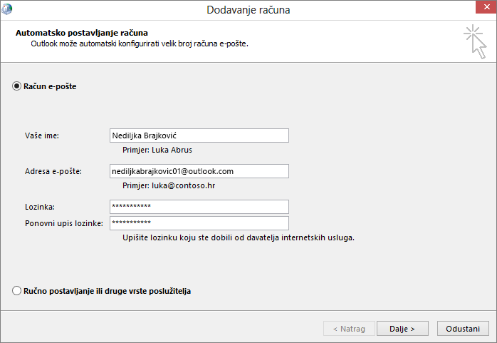 Uz pomoć automatskog postavljanja računa dodajte račun e-pošte kao dio novostvorenog profila za Outlook