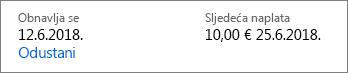 Veza za otkazivanje i pretplate Office 365 Home.