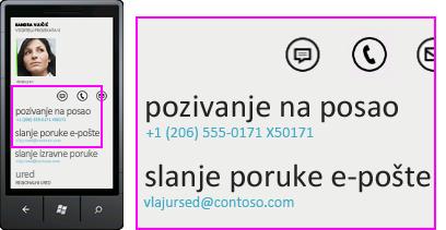 Snimka zaslona aktivnosti, kao što su pozivanje službenog telefona na mobilnom klijentu za Lync