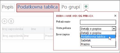 dodavanje drugog prikaza podatkovne tablice u tablicu