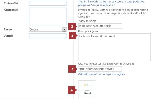 Novi zaslon za stvaranje web-aplikacije programa Access