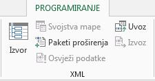 XML naredbi na kartici programiranje