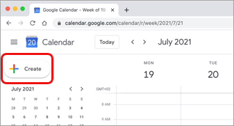 Odabir stvaranja u Google kalendaru