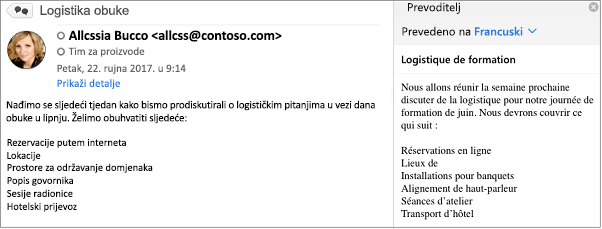 Ova je poruka prevedena s engleskog na francuski pomoću Outlook Prevoditelj Add-In