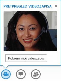 Snimka zaslona uz započinjanje videoprikaza tijekom razmjene izravnih poruka