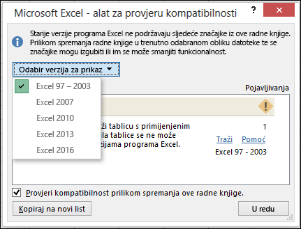 Dijaloški okvir Provjera kompatibilnosti za Excel