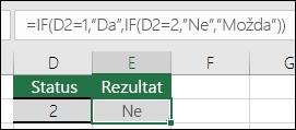 """Upotrijebite """""""" da biste potražili praznu ćeliju – formula u ćeliji E3 je =IF(D3="""""""";""""Prazno"""";""""Nije prazno"""")"""