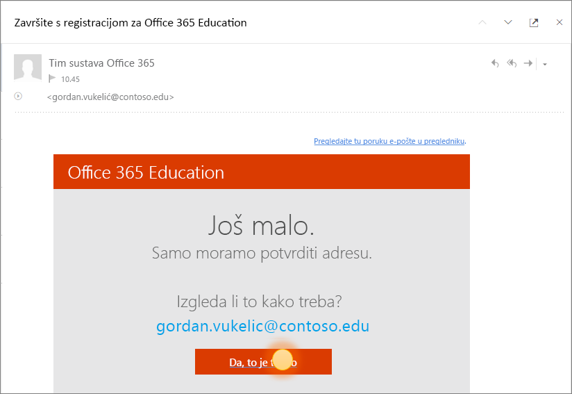 Snimka zaslona s prikazanim završnim zaslonom za potvrdu prilikom prijave u Office 365.